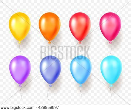 Realistic Color Balloons. 3d Round Shape Multi Color Party Objects, Bright Shades Holiday Elements,