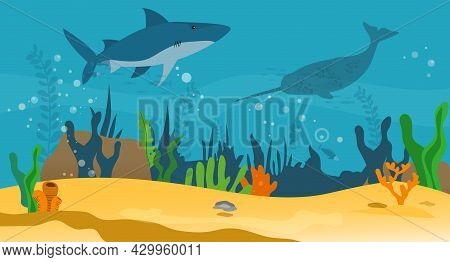 Underwater Landscape With Sea Creatures. Large Predatory Marine Mammals, Killer Whale And Narwhal In