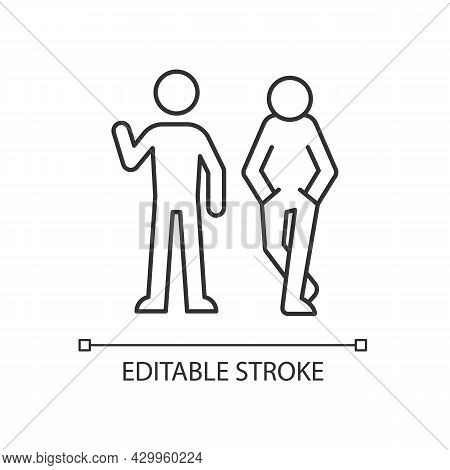 Posture In Communication Linear Icon. Body Language. Nonverbal Signal. Showing Personality Traits. T