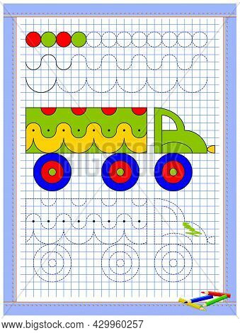 Educational Page For Kids. Printable Worksheet On Square Paper For Children. Learn To Draw Geometric