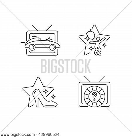 Tv Genres Linear Icons Set. Car Racing Broadcast. Dancing Competition. Game Show. Television Series.