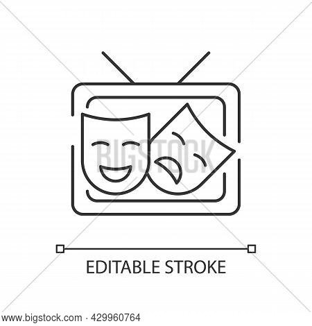 Tv Drama Linear Icon. Theatrical Performance Translation On Display. Comedy Acting. Thin Line Custom