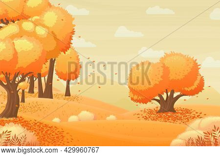 Autumn Forest Landscape. Fall Season, Garden Panorama With Yellow Tree And Falling Leaves. Cartoon W