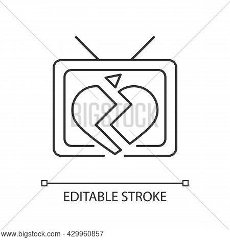 Soap Opera Linear Icon. Tv Drama Series. Sentival Film With Love Plot. Romantic Serial. Thin Line Cu