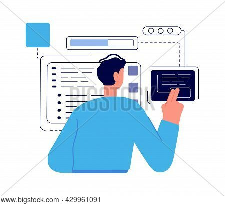 Java Technology Coder, Programmer Boy. Man Geek, Boy Work With Abstract Charts And Task Vector Conce