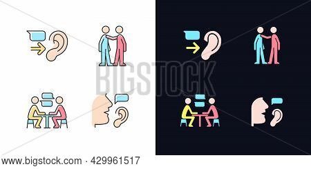 Verbal And Nonverbal Communication Light And Dark Theme Rgb Color Icons Set. Message Receiver. Perso