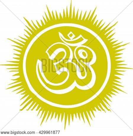 Sketch Hindu God Om Rising From Sun Symbol Outline And Silhouette Editable Illustration