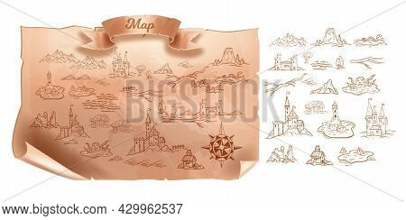Old Map, Vector Vintage Travel Cartography Paper, Antique Medieval Treasure Parchment On White. Fant