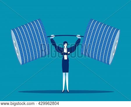 Business Lifting Money Weight. Business Vector Illustration Concept