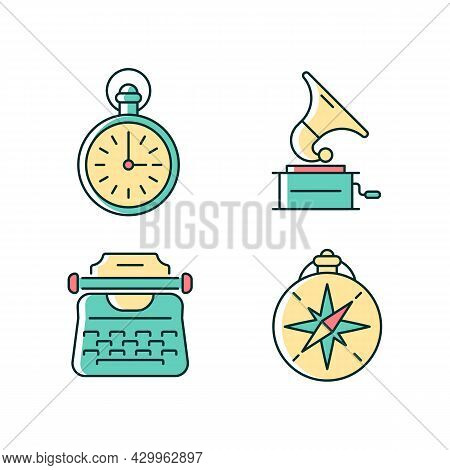 Old-fashioned Items Rgb Color Icons Set. Antique Pocket Watch. Gramophone Records. Vintage Typewrite