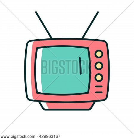 Old-style Television Rgb Color Icon. Tv Older Model. Transmitting Moving Images In Monochrome. Secon