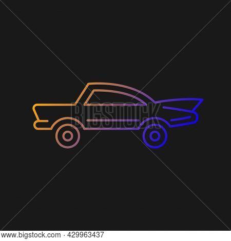Classic Car Gradient Vector Icon For Dark Theme. Nostalgic Value. Vintage Automobile. Original Produ