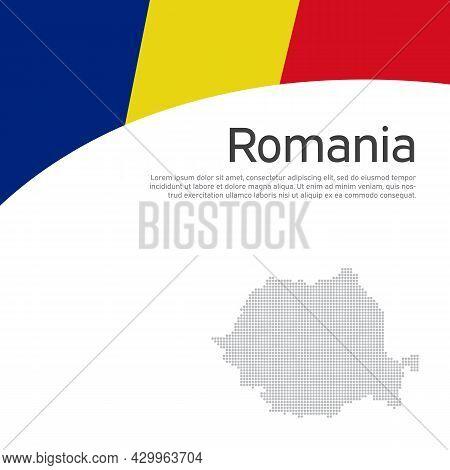 Abstract Waving Romania Flag, Mosaic Map. Creative Background For Patriotic, Festive Romania Card De
