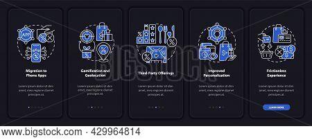 Loyalty Programs Trends Dark Onboarding Mobile App Page Screen. Tendencies Walkthrough 5 Steps Graph