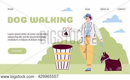 Owner Of Dog Walks Pet And Cleans For Dog. Vector Flat Illustration For Web Template.