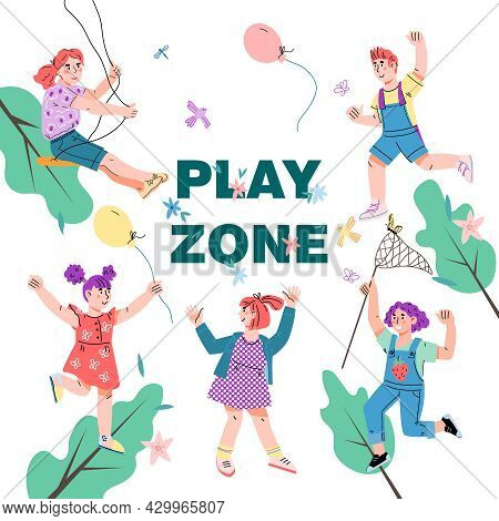 Kids Play Area Banner Or Poster Template With Cute Children Characters, Cartoon Flat Vector. Playgro