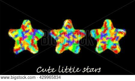 Motley Set, Multicolor Fluffy Stars, Icon. Cute Hairy Furry Design Isolated On Black Background. Car