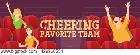 People Cheering Favorite Team On Stadium During Sports Competition Or Tournament. Excited Fans Men A