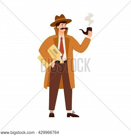 Detective Character Hold Smoking Pipe And Folder With Investigation Documents.