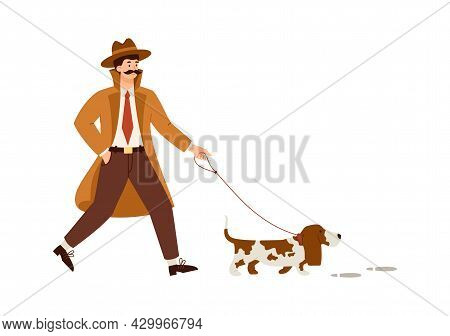 Male Detective With Dog Engaged In Research Crime Or Search For Evidence.