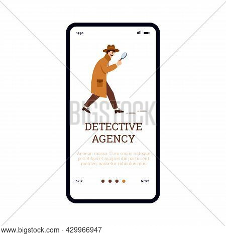 Mobile Phone App For Detective Agency With Male Professional Private Detective