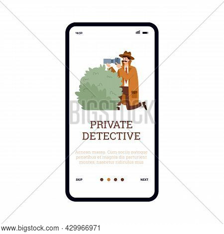 Mobile Phone App For Private Detective Agency With Professional Investigator.