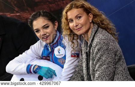 Marseille, France - December 9, 2016: Famous Russian Coach Eteri Tutberidze (r) And Figure Skater Ev