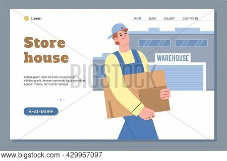 Web Banner With Warehouse Building And Worker Carry Cardboard Boxes.