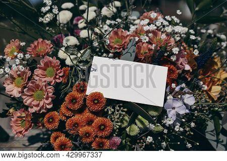 Moody Feminine Wedding, Birthday Mockup Scene. Closeup Of Blank Paper Card, Gift Tag Label On Colorf