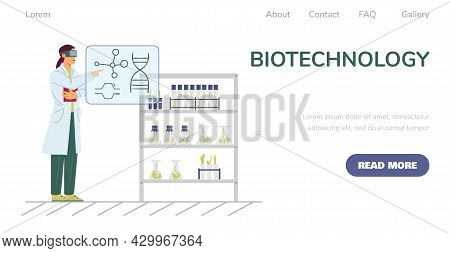 Biotechnology For Plants Breeding And Medicine Website Flat Vector Illustration.