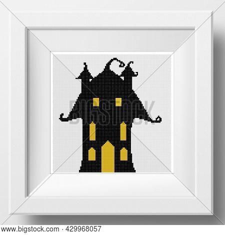 Halloween Mysterious House. Cross Stitch Decoration. Illustration Of Cross Stitch Embroidery. Imitat