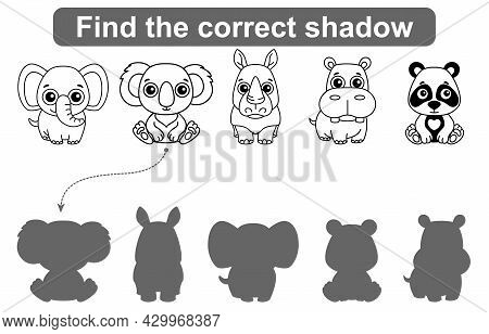 Find Correct Shadow. Kids Educational Game. Set Of Forest And Zoo Animals To Find The Correct Shadow