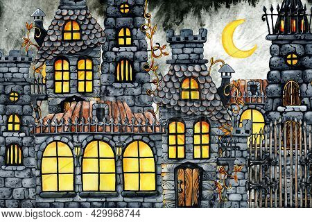 Gothic Castle Clipart, Halloween Horrible House And Banquet Hall. Hand Drawn Watercolor Illustration