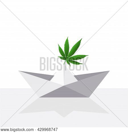 Origami Paper Craft With Cannabis Leaf Reflection. Vector Flat Illustration.