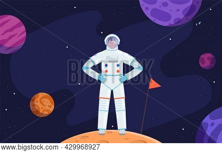Astronaut In Space. Red Planet Colonization, Cartoon Cosmonaut In Universe Vector Illustration