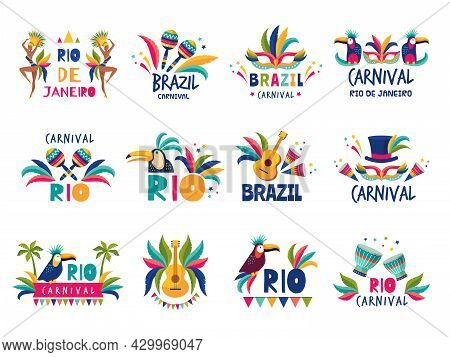 Brazil Badges. Rio Colored Carnival Muzical Samba Festival Parade Recent Vector Illustrations Collec