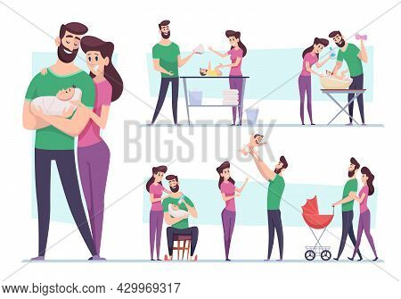 Happy Family. Lovely Couple Mother And Father Taking Care To New Born Child Mom Breastfeeding Embrac
