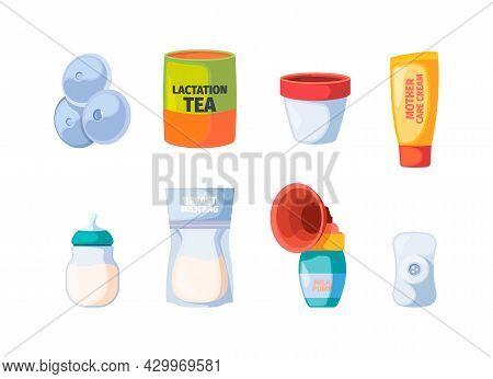Breastfeeding. Icons Of Maternity Nurse Baby Breast Pump Bottle With Milk Sling Infant Garish Vector