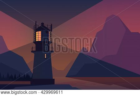 Night Landscape Lighthouse. Ocean With Rocks In Water Splashes And Lighthouse Glowing Around Symbol