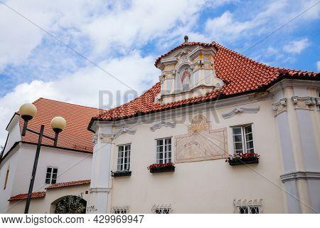 Pelhrimov, Czech Republic, 03 July 2021: Old Baroque And Renaissance Historic Building At Dean's Str