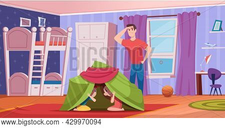Kids Room. Colored Cozy Interior Children Room With Tent And Toys Exact Vector Cartoon Background