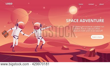 Cosmonauts Landing. Space Universe Futuristic Rockets Shuttle Travelling In Cosmos Exact Vector Web