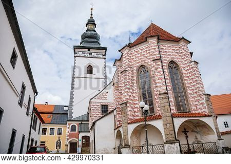 Pelhrimov, Czech Republic, 03 July 2021: Gothic Church Of St. Bartholomew With Observation Tower At