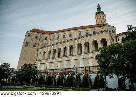 Mikulov, South Moravian Region, Czech Republic, 05 July 2021: Baroque Castle Or Chateau With Tower O