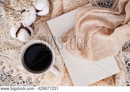 Cozy Winter Or Autumn Still Life Details, Feminine White Table With Sketch Book, Coffee, Dried Flowe