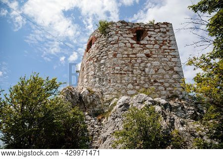 Mikulov, South Moravian Region, Czech Republic, 05 July 2021: Ruins Of Kozi Hradek Renaissance Defen