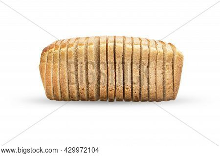 Single Loaf Of Sliced White Bread, Isolate On A White Background. Slices Of Toast, Side View