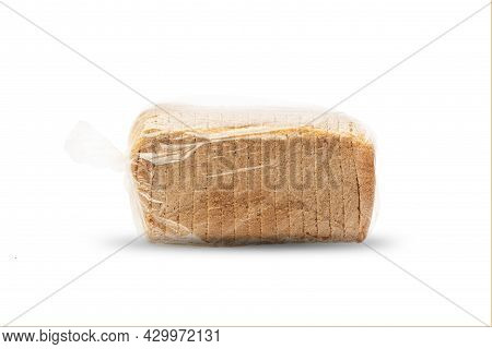 Single Loaf Of Sliced White Bread, Isolate On A White Background. Slices Of Toast, Side View In A Ce