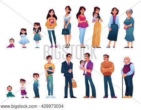 Male And Female Human Aging And Growth. Newborn And Toddler, Preschool And Pupil, Student And Teenag