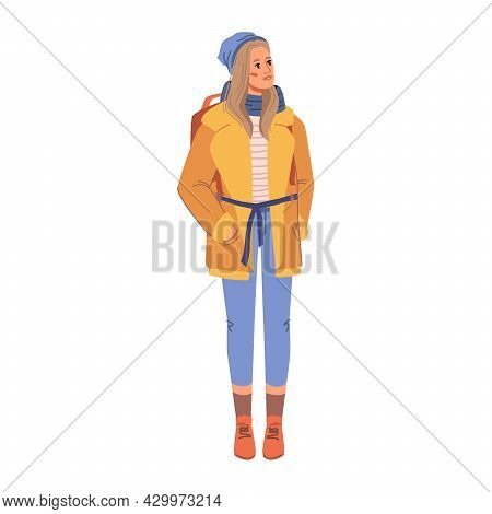 Fashionable Woman In Yellow Coat On Belt, Blue Jean Trousers And Red Leather Shoes, Winter Style Col